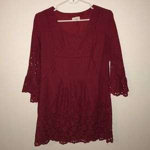 Tea & Cup Embroidered Red Dress